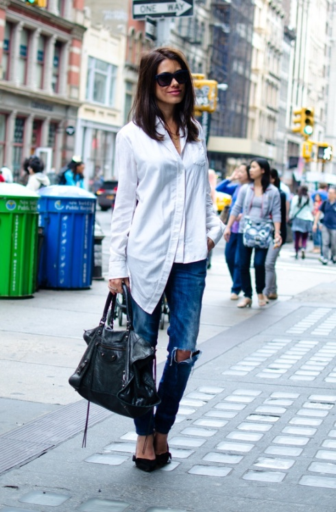 white shirt, blue denim