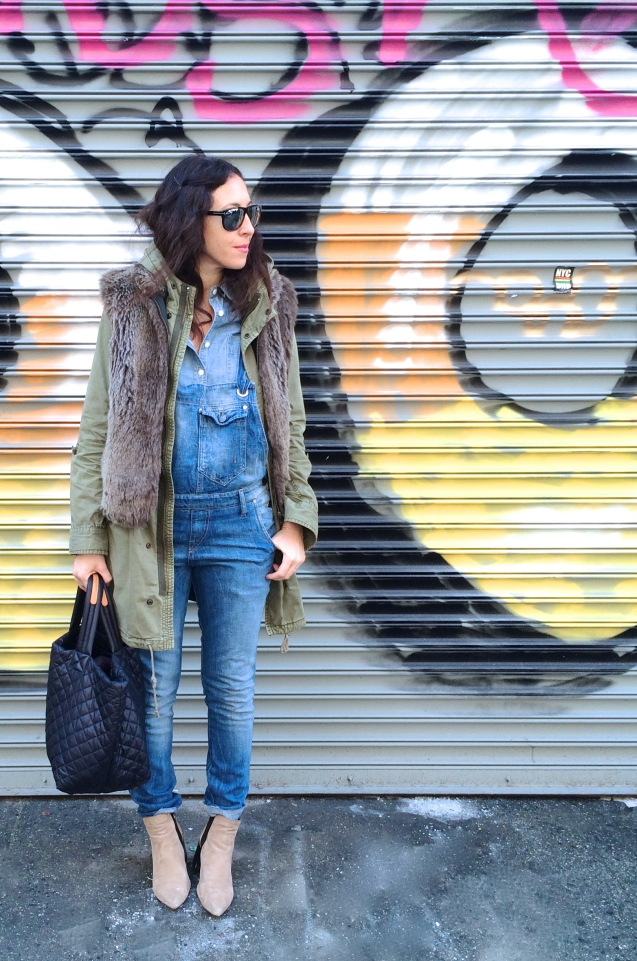 fur and overalls